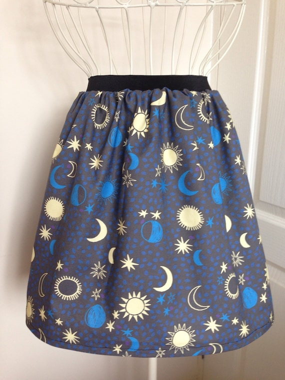 Sun, Moon And Stars Skater Style Skirt by Etsy
