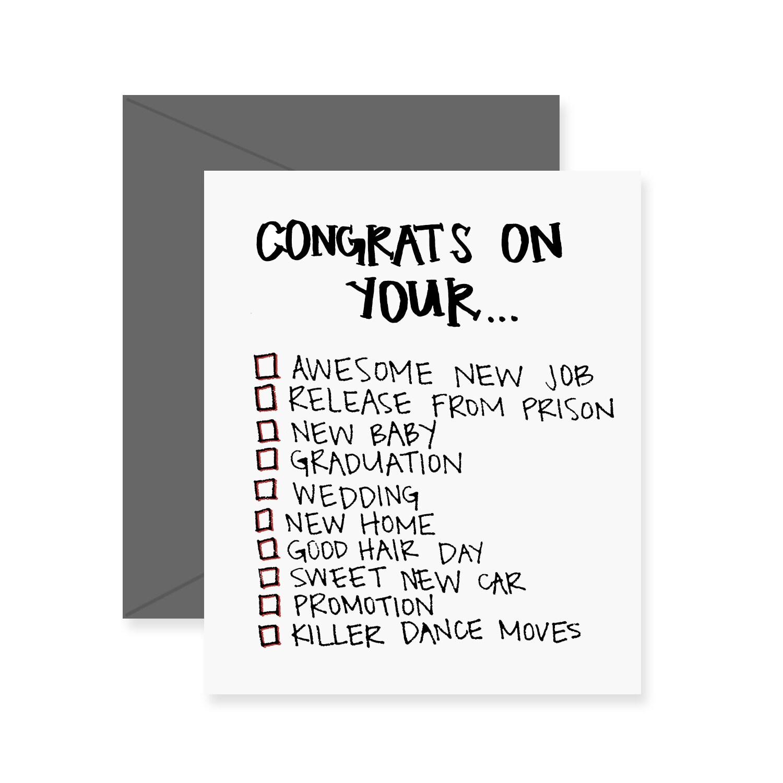 Congrats On Your Checklist Greeting Card Congrats Card Etsy