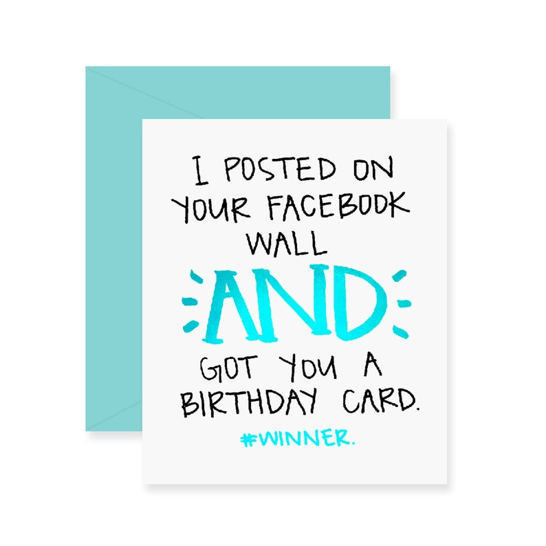 Foil Facebook Birthday Card Funny Greeting Happy