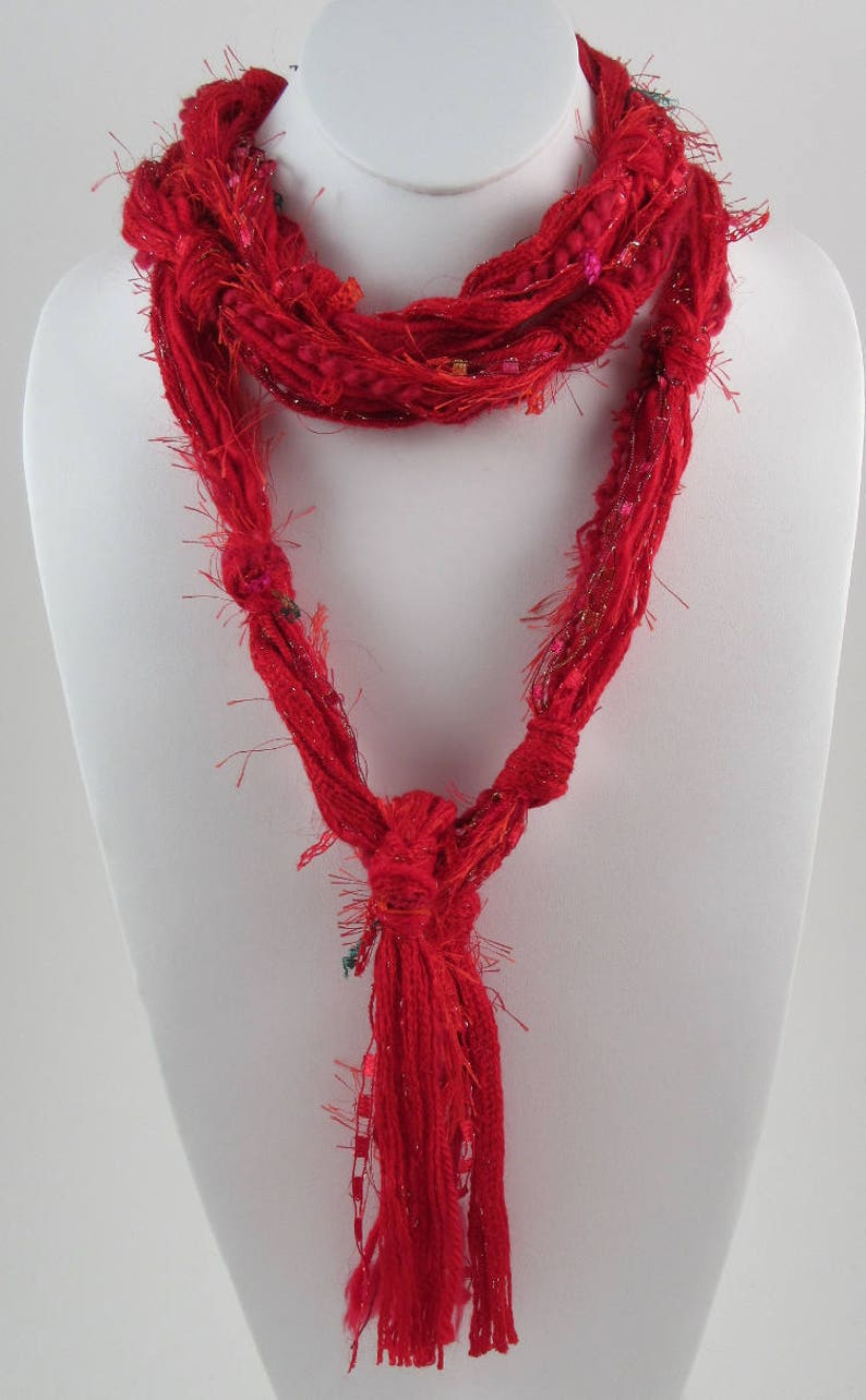 Red Skinny Scarf Skinny Scarf for Woman Scarves for Women image 0