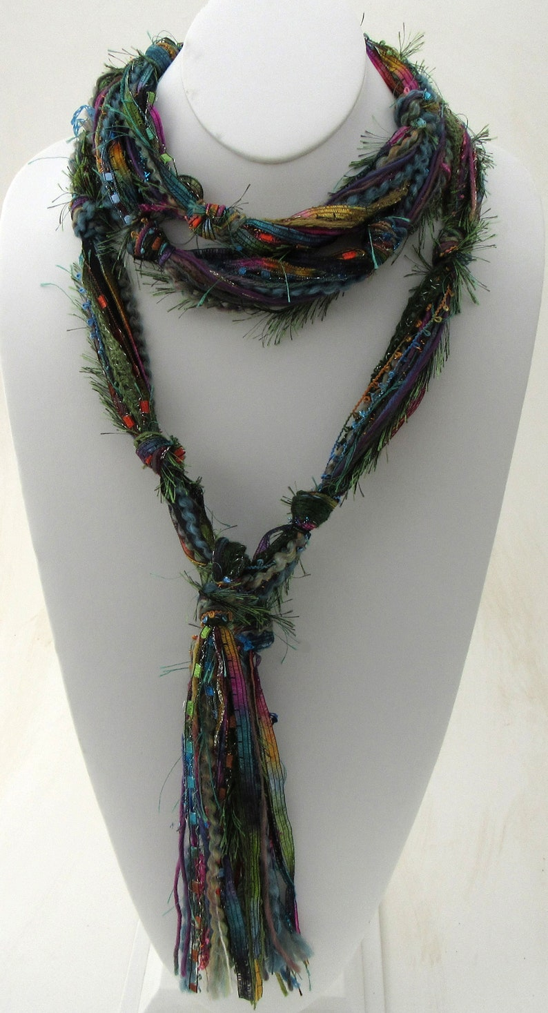 Multi Color Scarf Bohemian Scarf Skinny Scarf for Woman image 0