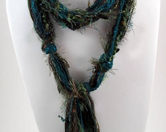 Green Scarf, Skinny Scarf, Boho Chic, Long Scarf, Ladies Scarves, Fringe Scarf, Bohemian Scarf, Boho Scarves, Scarves for Women