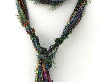 Long Skinny Scarf | Boho Multi Color Rainbow | Bohemian Style for Woman | Comes in Gift Box