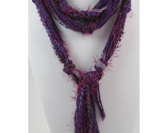 Purple Scarf, Skinny Scarves, Fringe Scarf, Bohemian, Boho Scarves, Scarves for Women, Skinny Scarf, Long Scarf, Womens Scarves