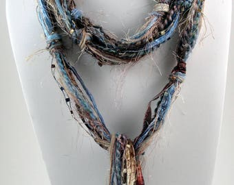 Tan Blue Scarf, Skinny Scarves, Scarves for Women, Fringe Scarves, Skinny Boho, Boho Clothing, Bohemian Scarf, Hippie Clothes