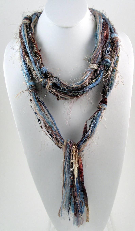 Tan Blue Scarf Bohemian Scarf Fringe Scarves Skinny Scarf image 0