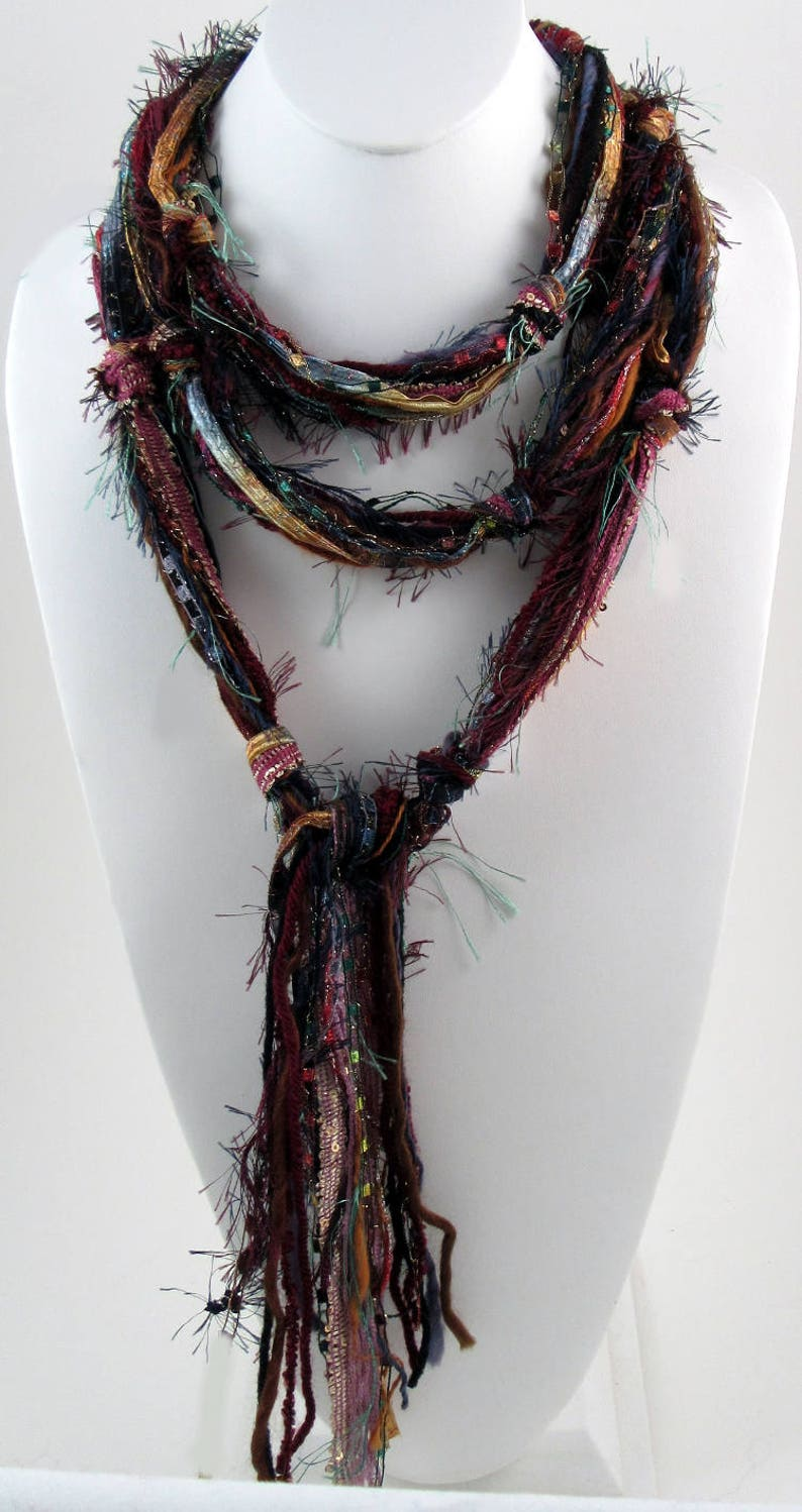 Bohemian Scarf Burgundy Scarf Multi Colored Scarf Skinny image 0