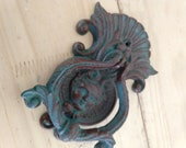 vintage cast iron cherub angle face door knocker , French country, cottage.farm house.shabby chic
