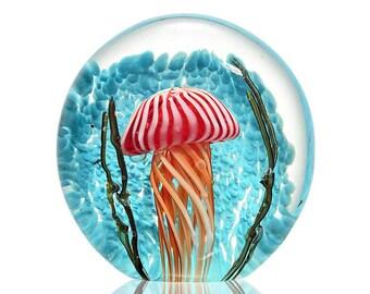 Art Glass striped Jellyfish, paper weight, nautical