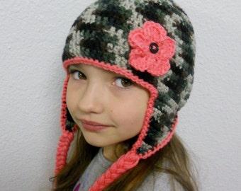 Crochet Pink Camouflage Earflap Hat 3a18461ec641