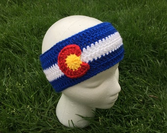 Crochet Colorado Flag Headband Ear Warmer- Baby, Toddler, Child, Teen, Adult Sizes, Colorado Earwarmer, Skiing, Ski, Snowboard