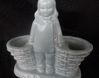 Charming Mid-Century Ceramic Planter - Chinese Girl with 2 Baskets (906