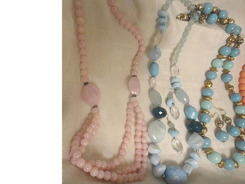 Lot of 5 Vintage Pastel Beaded Necklaces 1724 2 With Matching Pierced Earrings ~ Pink  Blue  Orange  Coral