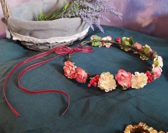 Cottagecore flower crown, ren faire, wedding, flower headband, bride headdress, Fairycore flower hair crown, bridesmaid