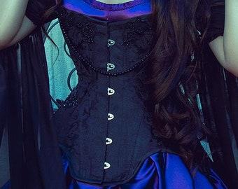 Edwardian black corset with rhinestones and lace - Size S