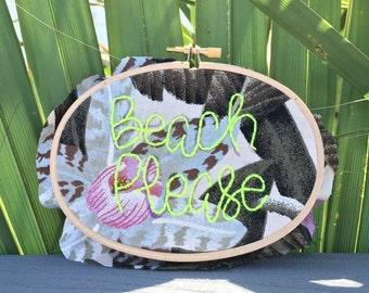 BEACH PLEASE oval hoop