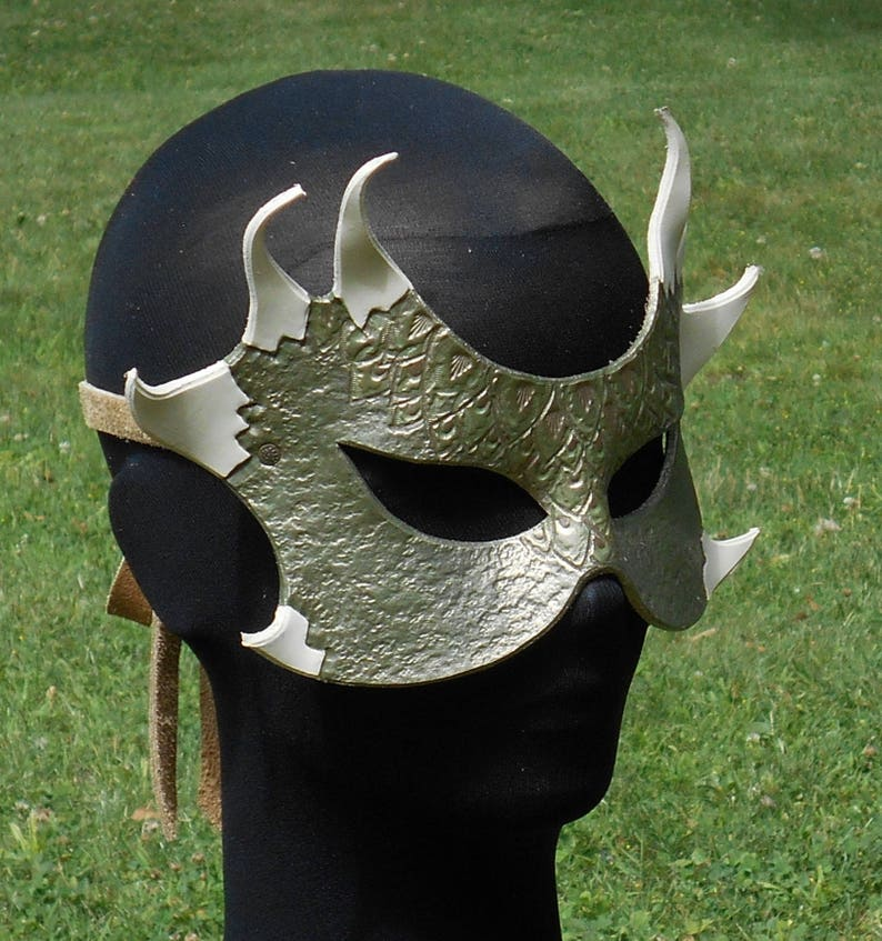 Dragon Leather Mask Skyrim Halloween LOTR Post Apocalyptic Cosplay  Steampunk LARP Dystopia Rising