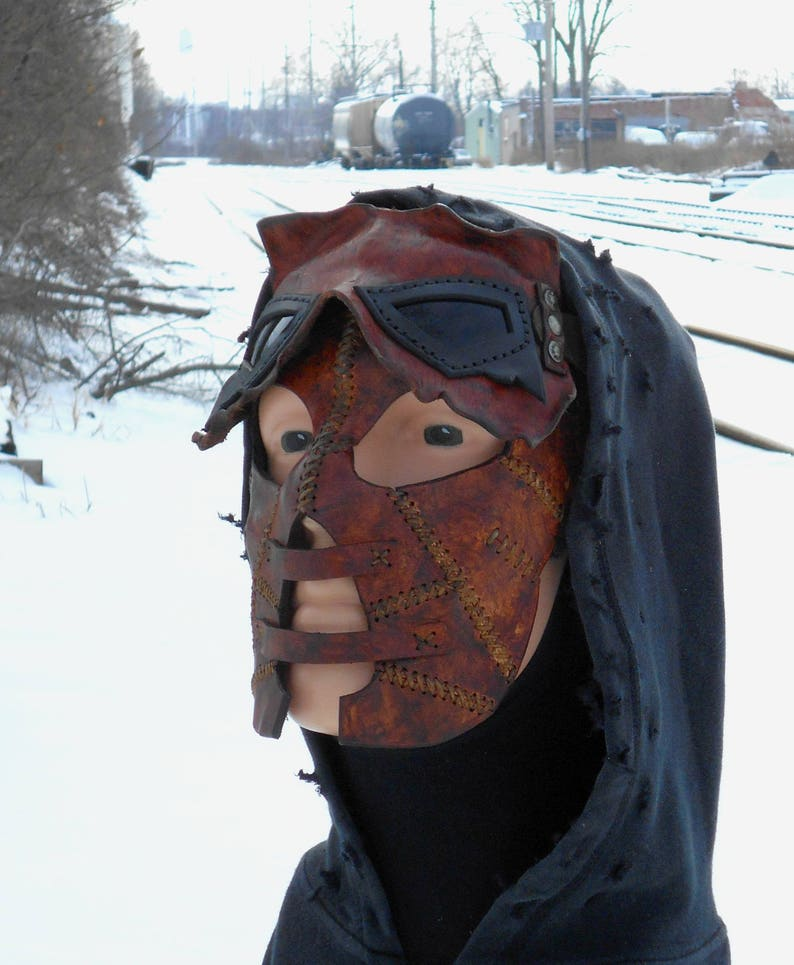 Hunter Sinister Twisted Malevolent Leather Mask Facemask Etsy
