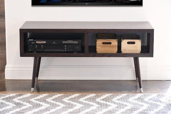 retro mid century modern tv stand console mayan espresso. Black Bedroom Furniture Sets. Home Design Ideas