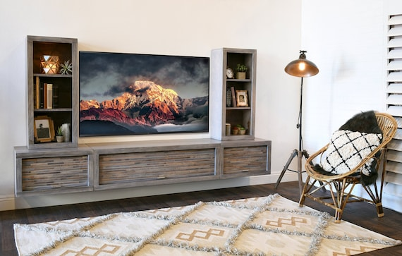 Gray Floating Tv Stand Modern Wall Mount Entertainment Center Etsy