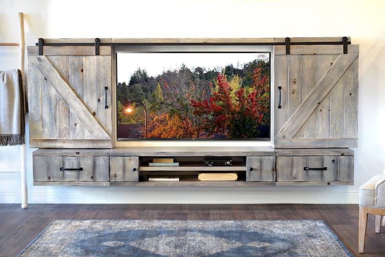 Barn Door Floating Tv Stand Entertainment Center Farmhouse Etsy