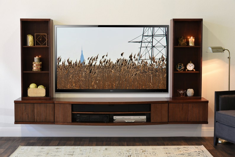 Wall Mounted TV Stand Entertainment Console - Curve 5 Piece - Mocha