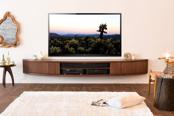 purchase cheap 0ce55 aa26d Floating TV Stand Mid Century Modern Entertainment Center - Arc - Mocha