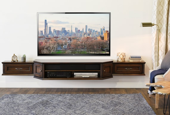 Rustic Traditional Wall Mounted Floating Tv Stand Console