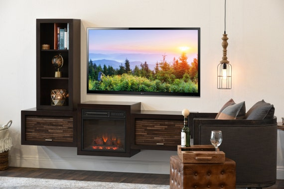 Floating Wall Mount Tv Stand With Fireplace And Bookcase Eco Etsy