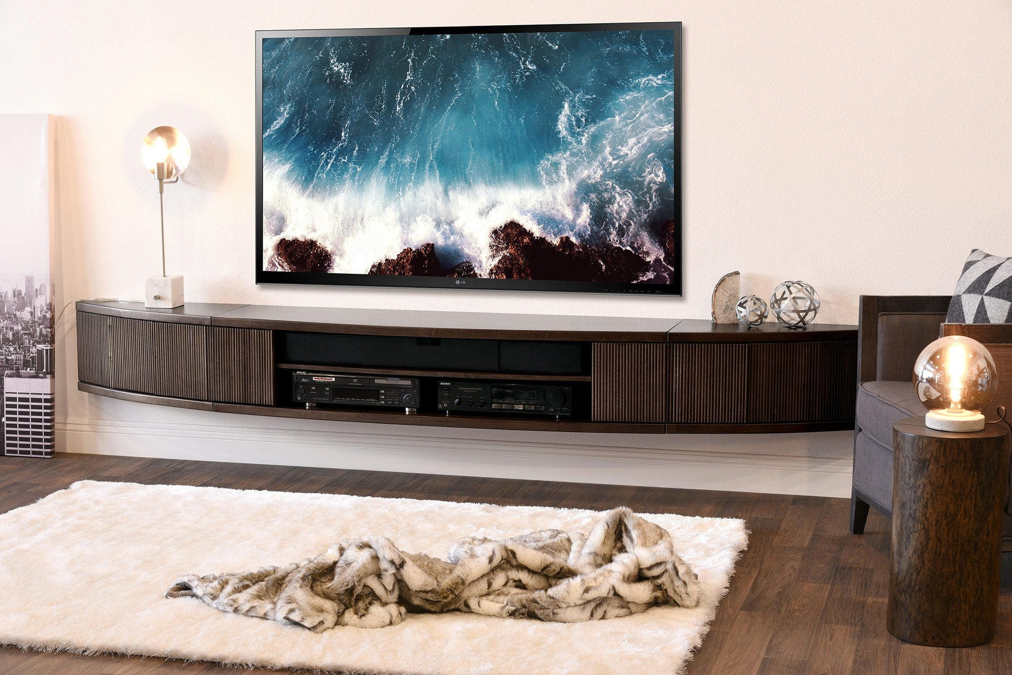 Curved Wall Mount Floating Entertainment Center Tv Stand