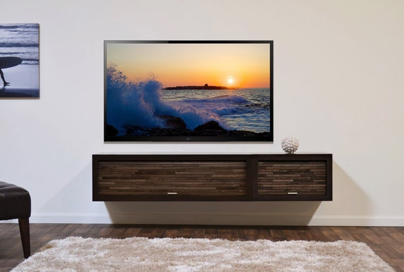 Modern Tv Stand Wall Mounted Floating Entertainment Center Etsy