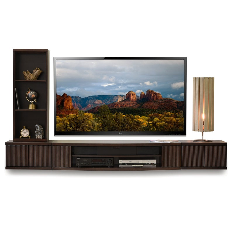 Wall Mounted TV Stand Entertainment Console - Curve 3 Piece & Bookcase -  Espresso
