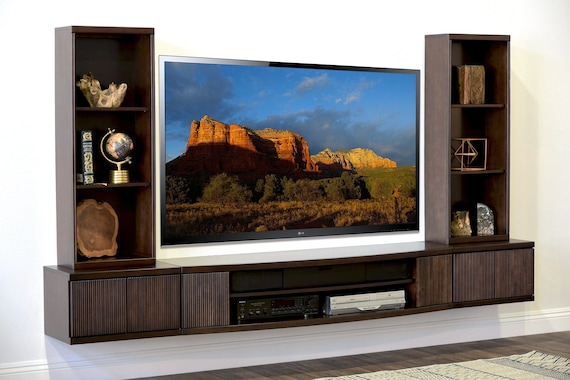 meet 9cd10 e4a31 Floating TV Stand Wall Mount Entertainment Center - Curve - 5 Piece -  Espresso