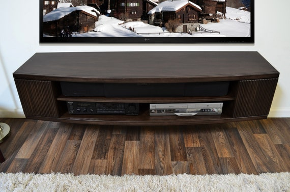 Curved Modern Floating Wall Mount Tv Stand Console Curve Etsy