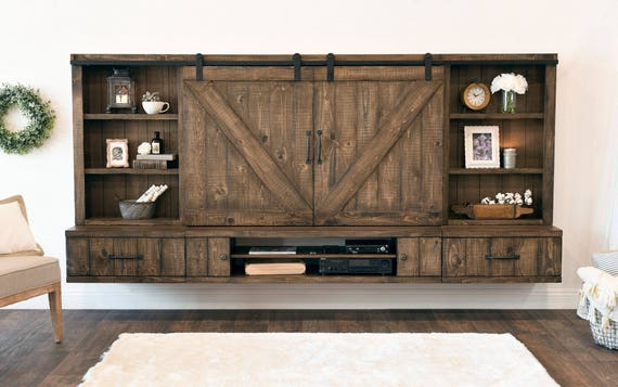 farmhouse barn door entertainment center floating tv stand etsy. Black Bedroom Furniture Sets. Home Design Ideas