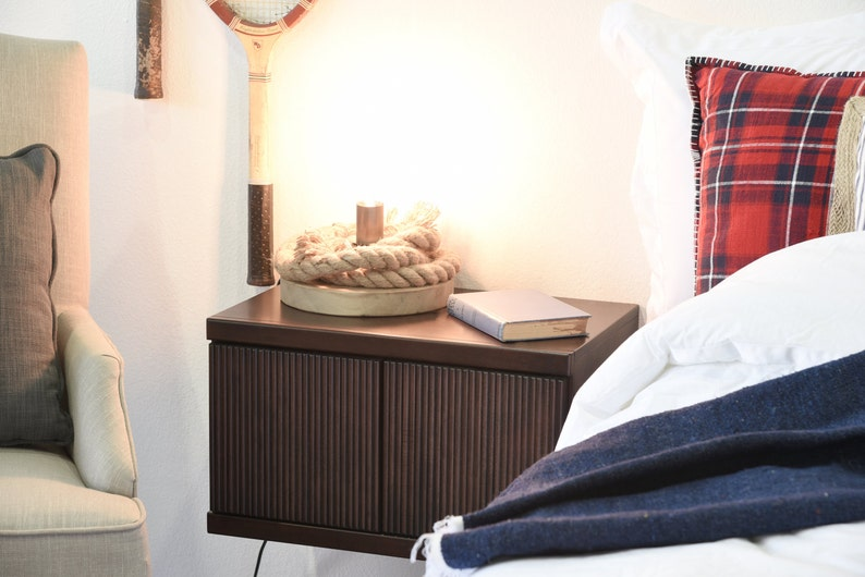 Curve Espresso Modern Hanging Floating Night Stand Wall Mount Nightstand Cabinet
