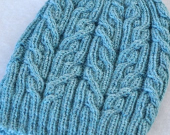 a89a181fcde Tied Knots Handknitted Turquoise Wool Hat Beanie
