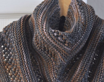 Soft and Warm Hand-knit Charcoal Grey Copper Lavender Wool Scarf