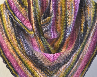 Hand-knit Multi-color Merino Wool Scarf - Soft and Warm