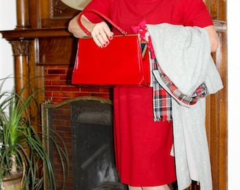 Vintage Wool Dress, Red Wool Dress, Church Dress, Day Dress, 1950's Dress, Size 14, Modest Red Dress, Secretary Dress, Metal Side Zipper,