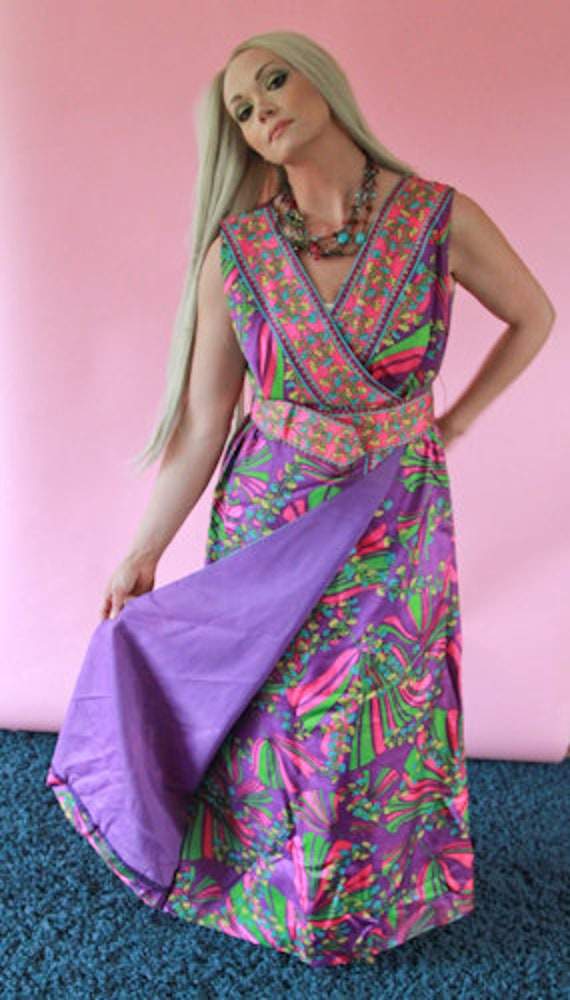 1950's Faux Wrap Maxi Dress with Matching Belt