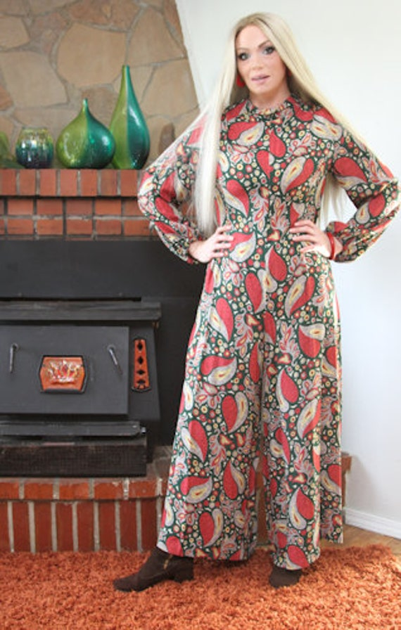Rare 1970s Handmade Mod Paisley Jumpsuit with Wide