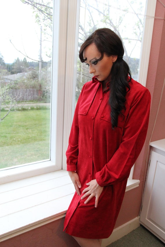 70s Red Suede Cloth Handmade Shift Dress