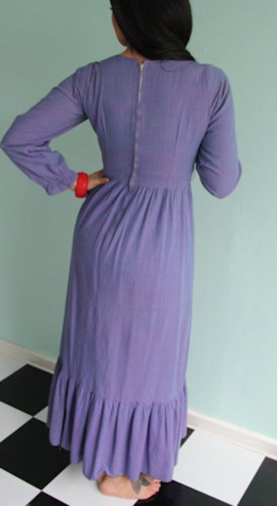 1960's Ramona's Boho Hippie Maxi Dress with Embro… - image 5