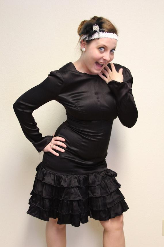 Vintage Ruffled Black Flapper Dress, 80's does 20'