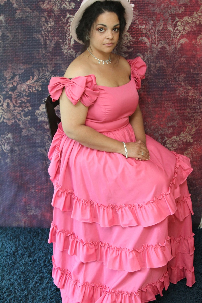 Vintage Southern Belle Gown Ruffled Antebellum Gown