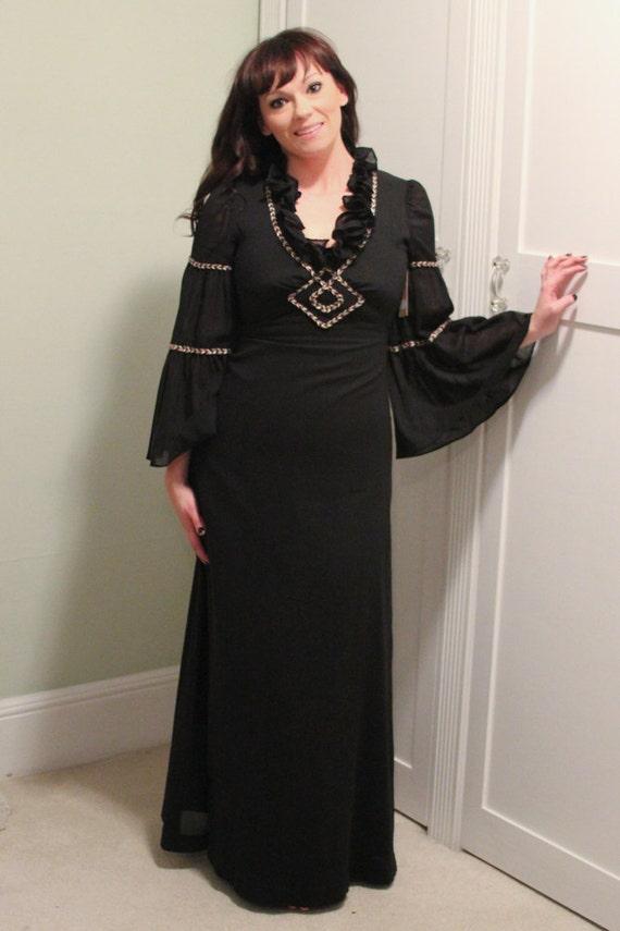 70s Long Black Boho Hippie Dress in Black Gauze by