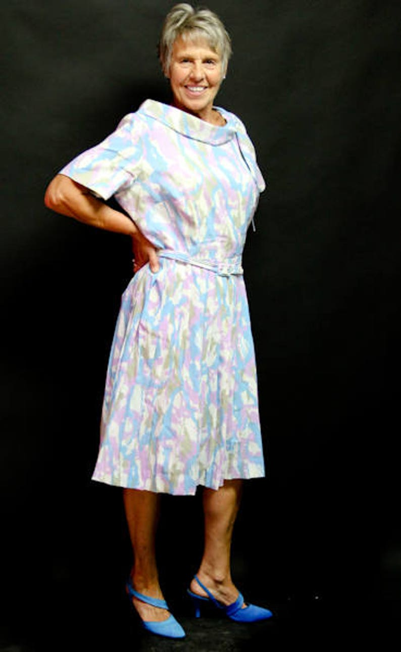 1950/'s Belted Crepe Secretary or Church Dress