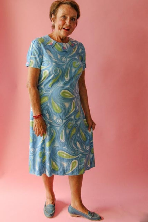 1960's Cotton Day Dress or Shift Dress  in Paisle… - image 1