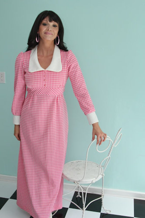 1970's Polyester Gingham Check Maxi Dress